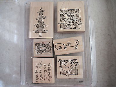Stampin Up - 'TIS THE SEASON - 6 rubber stamps Christmas tree holly dove