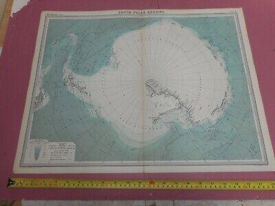 100% ORIGINAL LARGE SOUTH POLAR REGION MAP FROM THE TIMES ATLAS C1922 VGC