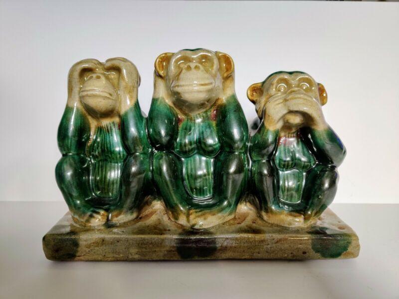 Large Vintage Ceramic Three Wise Monkey Statue See Speak Hear No Evil