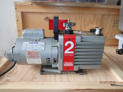 Edwards E2m2 Two Stage 13 Hp Single Phase Vacuum Pump Leeson Motor 120240v