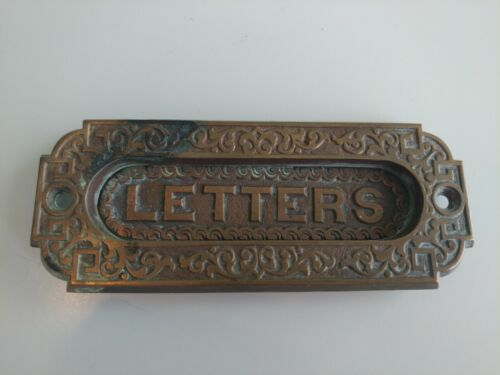 Vintage Ornate Brass Letters Post Mail Slot Detailed Metalwork Beautiful Patina!
