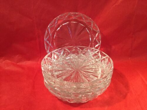 "L26 Vintage Five Anchor Hocking Waffle Crystal Glass Clear Coasters- 4""Round-EUC"