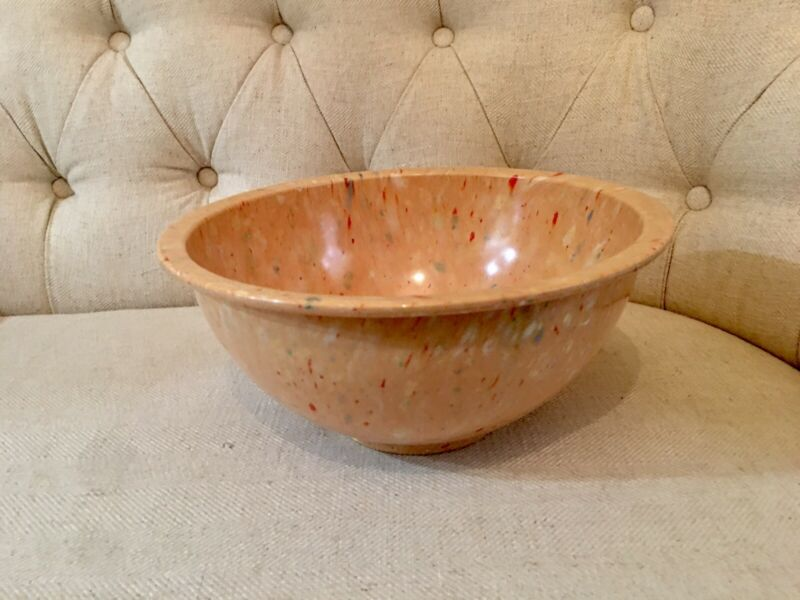 Vintage Texas Ware Confetti Mixing Bowl #125 Splatter Amazing Melmac Peach