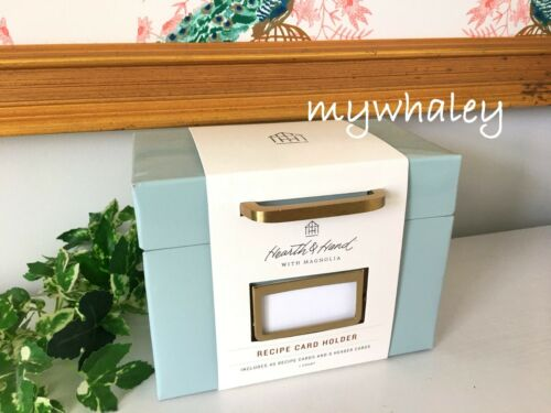 NEW Hearth & Hand with Magnolia RECIPE CARD HOLDER METAL BOX Gold Handle 40Cards