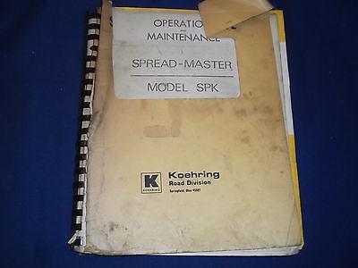 Koehring Spk Spreadmaster Operation Maintenance Book Manual