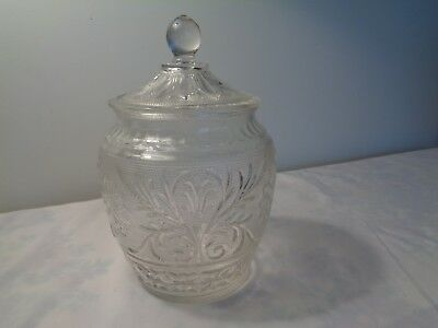 Vintage clear sandwich glass cookie jar Original