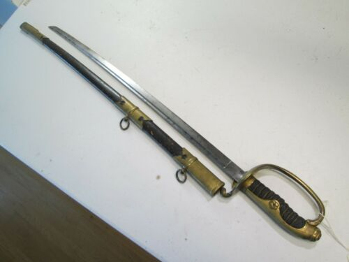 RARE WWII JAPANESE ISLAND NAVY OFFICERS PARADE SWORD W SCABBARD RAYSKIN GRIP #K1