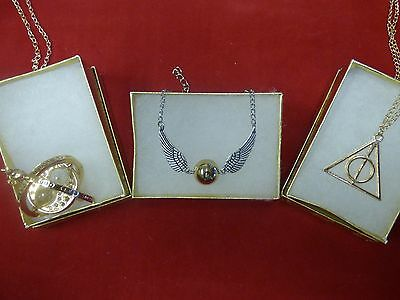 Harry Potter Time Turner+Golden Snitch Wing Bracelet+Deathly Hallows GOLD Charm