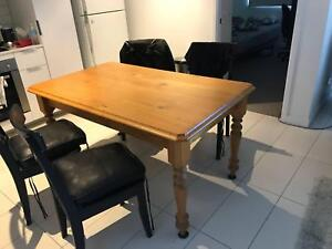Solid Pine Dining Table w/ Detachable Legs & Cutlery Drawer