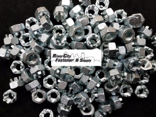 (5) M14-1.5 Slotted Hex Castle Nut Zinc Plated 14mm Fine Thread nuts M14x1.5