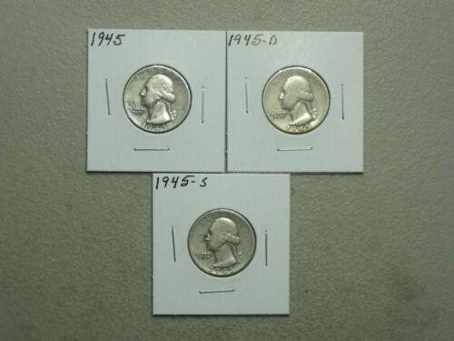 1945-P-D-S Silver Washington Quarter Set (3 coins) average circulated