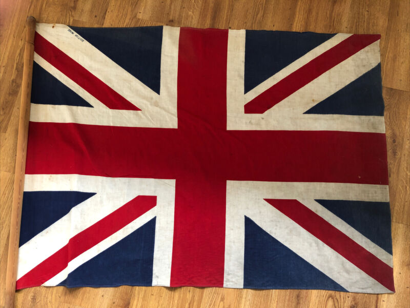 "Antique Vintage Printed Union Jack Flag Coronation British Made  Large 45"" x 32"""