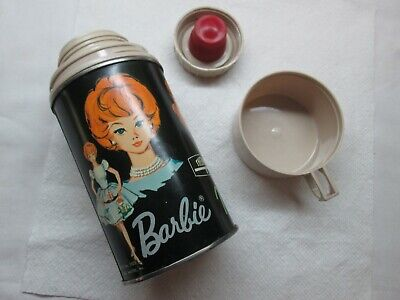 Vintage  Barbie Thermos ONLY for Lunchbox 1965 Mattel w/ Cup & Lid ~ NICE COND ~