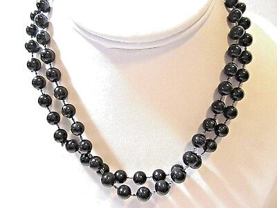 BLACK PLASTIC SMALL 'BB' BALL PLASTIC NECKLACE FASHION 1970'S PLASTIC