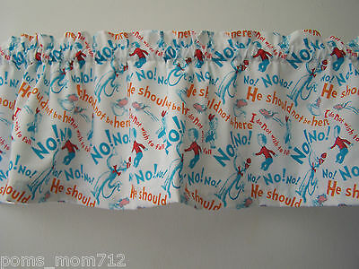 LINED VALANCE 61 X 12 VINTAGE NO! NO! CAT IN THE HAT FISH DR SEUSS STORY BOOK