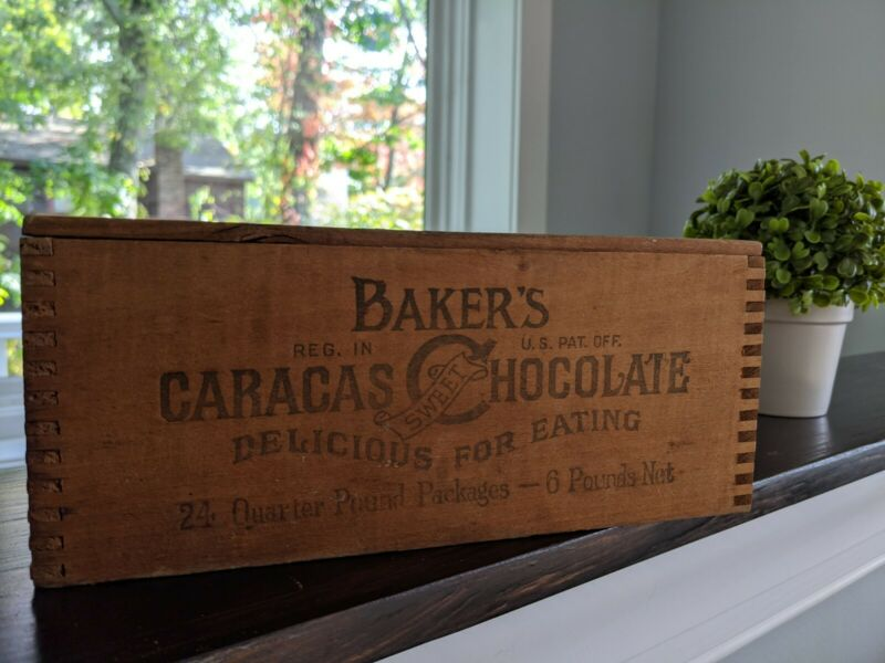Vintage Walter Baker Caracas Sweet Chocolate Co Wood Box Crate 24 Quarter Pound