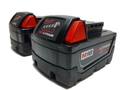 (2) MILWAUKEE 18V 18 Volt L i- Ion 48-11-1850 XC 5.0 AH Battery packs 48-11-1852