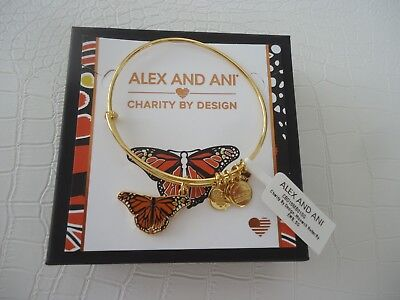 Alex And Ani Monarch Butterfly Bangle Shiny Gold New W Tag Card   Box