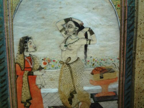 Antique INDIA/PERSIAN hand GOUACHE WATER COLOR-BARE BREASTED LADY w/ HAND MAIDEN