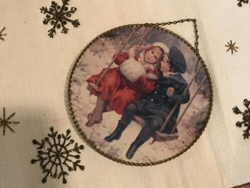 "VINTAGE VICTORIAN CHRISTMAS WINTER FLUE COVER BOY & GIRL SWINGING 9"""