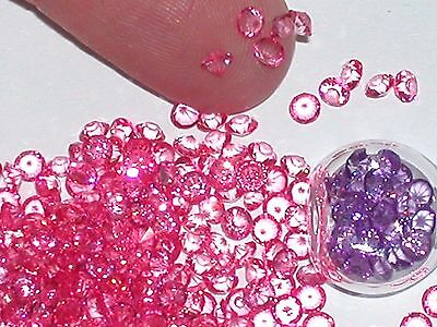 30pc  tiniest Crystals rhinestone fairy glitter bottle separate 2mm Hot Pink