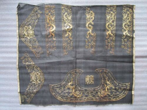 Antique Chinese Ming Dynasty Imperial Dragons Gold Thread Embroidery on Silk