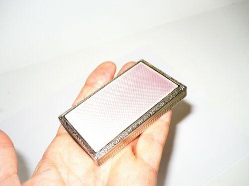Deco Antique Gilt Sterling Silver Guilloche Enamel Pink Snuff Box Compact 70 Gms