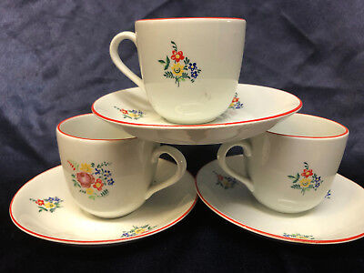 ARABIA FINLAND 3 CUPS & 3 SAUCERS  RED TRIM MULTICOLORED FLORAL FLOWERS