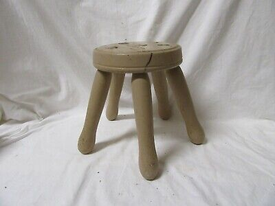VINTAGE Wooden Round Milking Five Legged Stool made from Washing Dolly