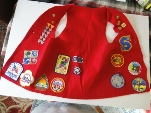 LARGE BOY SCOUT VEST LOADED ON BOTH SIDES WITH PATCHES AND PINS