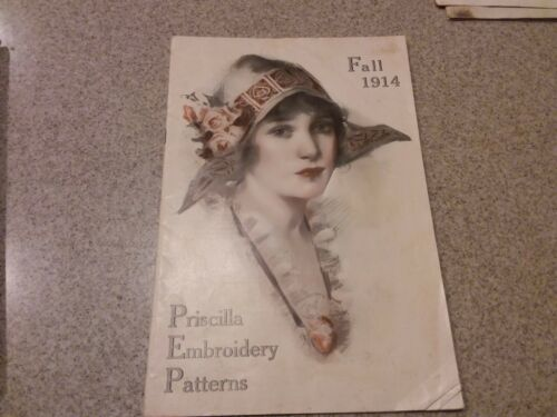 Vintage catalog Priscilla Needlework Book 1914 patterns embroidery designs