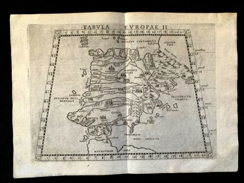 MAP OF ANTIQUE SPAIN 1564 from Girolamo Ruscelli PTOLEMY