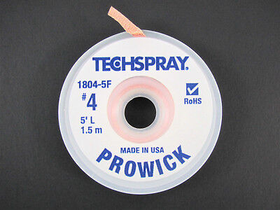 Prowick Solder Wick - 4 - 5 Braid - Techspray 1804-5f - Made In The Usa