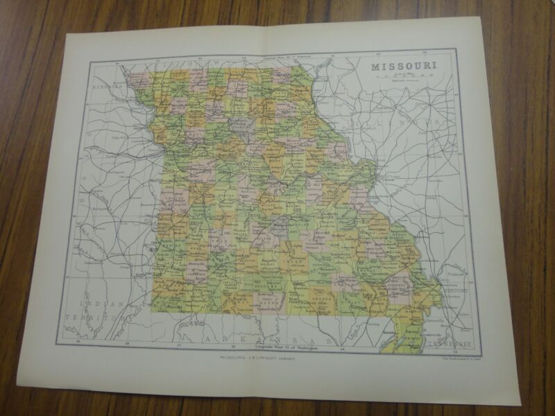 Nice color map of the State of Missouri.  Printed 1891 by Chambers.