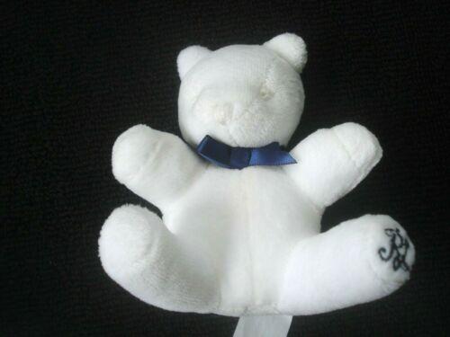 """Ralph Lauren Infant 4"""" White Stuffed Plush Velour Teddy Bear Rattle Toy NEW"""