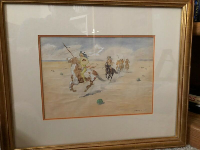 Leonard H. Reedy Water Color Painting (1899 - 1956) Indians Riding c. 1920