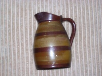 Antique French Normandy Pottery Coopered Style Cider Pitcher
