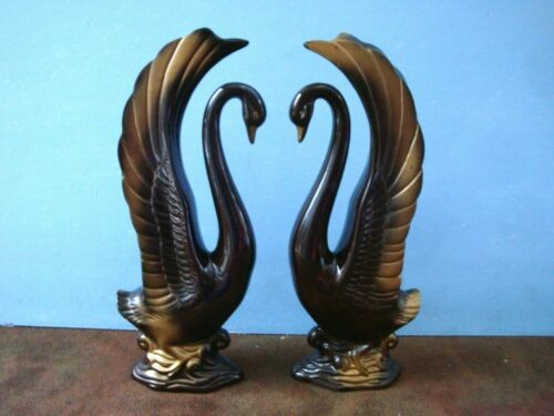 "Set of (2) 10"" Ceramic Chocolate with Gold Swan Figurines Set"
