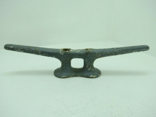 12+1/8 INCH VERY OLD PAINTED STEEL SHIP BOAT DOCK CLEAT DECOR (#1906)