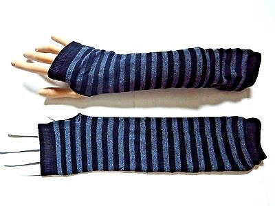 GRAY BLACK STRIPED ARM WARMERS knit fingerless gloves goth punk EGL stripey Y1 - Black Arm Warmers
