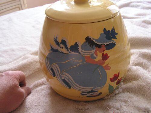 Vintage Bauer Art Pottery Cookie Jar Los Angeles Nice Hand Painted Woman Dress