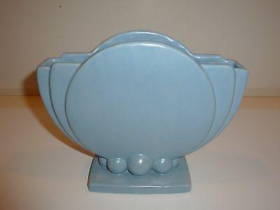Vintage Art Pottery Vase, Round Deco Shape, Light Blue