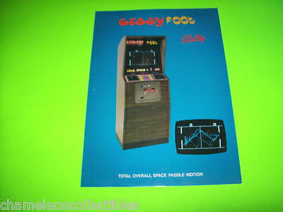 CRAZY FOOT By BALLY 1973 ORIG VIDEO ARCADE GAME MACHINE SALES FLYER PONG CLONE