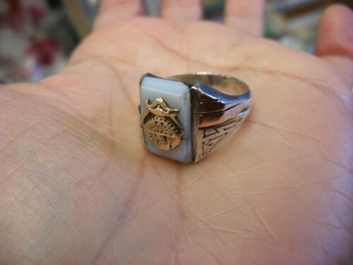 Vtg BTH Trade Union Sterling & 10K Gold Ring Machinist Carpenter ? Size 10 1/2