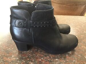Clarks Black Leather Ankle Boots -Size 8