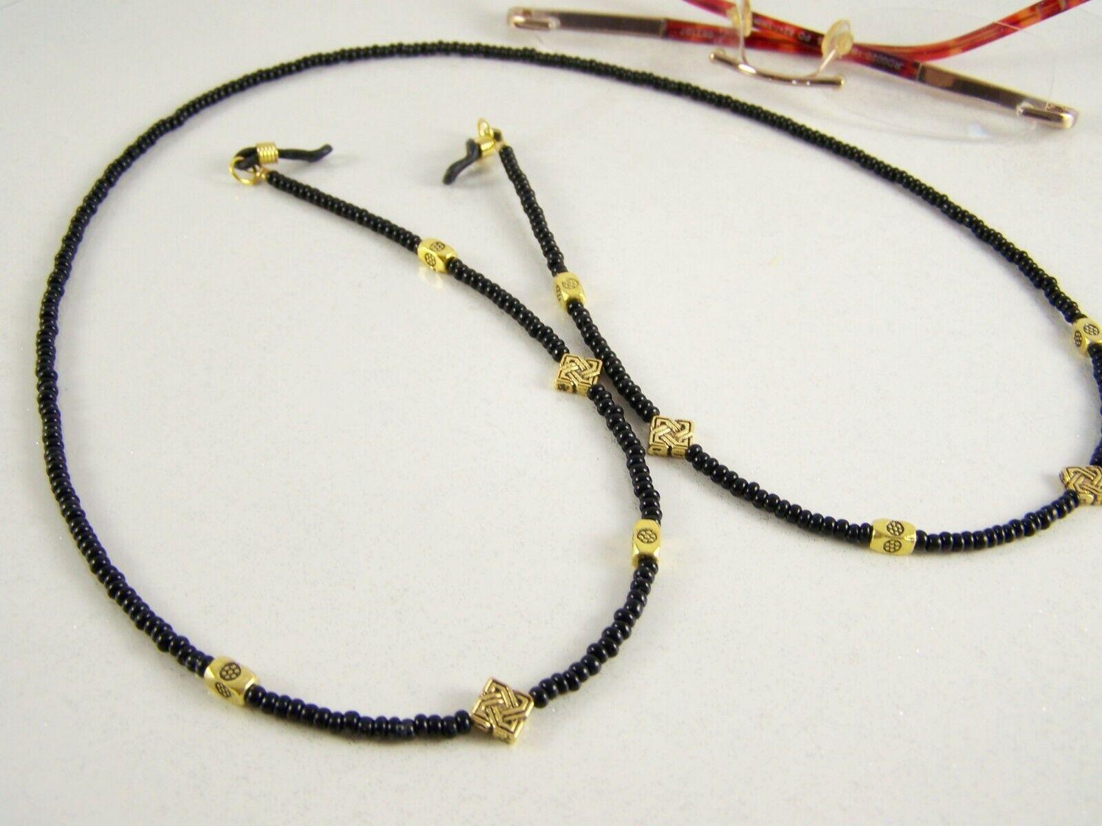 goldfarben + schwarz, Brillenkette Brillenband Kordel Kette Halsschmuck Damen