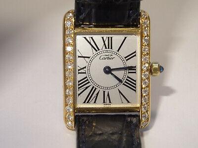 Ladies CARTIER Exaggerated Roman Dial Tank Watch 0.56ct Custom Diamond Bezel