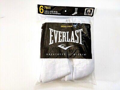 Everlast Mens Full Cushion Crew Socks Shoe Size 6-12 Large White 6-Pair New