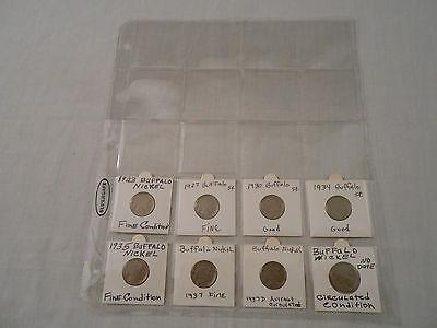 SALE! Coins: 8 Buffalo Nickel Coins:1923/1927/1930/1934/1935/1937/1937-D/19??
