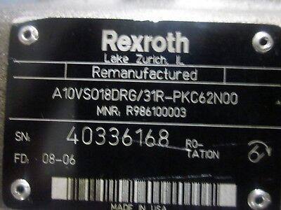 A10vso18drg31r-pkc62n00 Rexroth Unit Variable Displacement Piston Pump